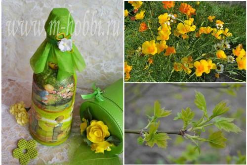 декупаж бутылки с цветами